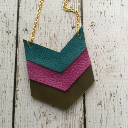 EMERSON - Leather Necklace  || MATTE DARK TEAL, MATTE FUCHSIA, MATTE OLIVE GREEN
