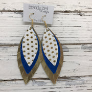 INDIA - Leather Earrings  ||   WHITE WITH METALLIC GOLD POLKADOTS, METALLIC COBALT BLUE, METALLIC GOLD