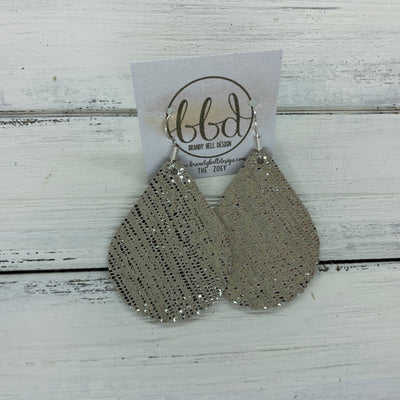 ZOEY (3 sizes available!) -  Leather Earrings  ||   METALLIC SILVER SANDS ON TAUPE