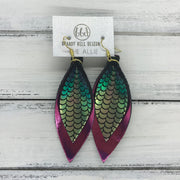 ALLIE -  Leather Earrings  ||  <BR> METALLIC PINK/GREEN MERMAID <BR> METALLIC PINK
