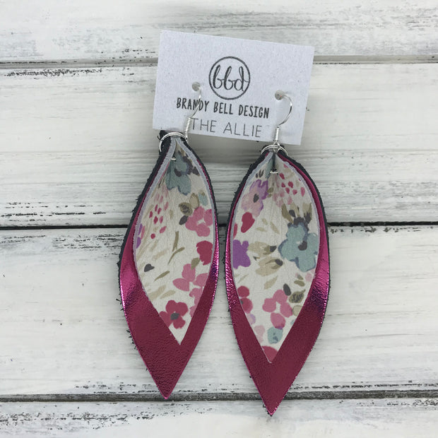 ALLIE -  Leather Earrings  ||  <BR> MINI FLORAL ON WHITE <BR> METALLIC PINK