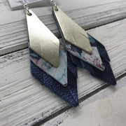 COLLEEN -  Leather Earrings  ||   METALLIC CHAMPAGNE, VINTAGE FLORAL, METALLIC NAVY PEBBLED