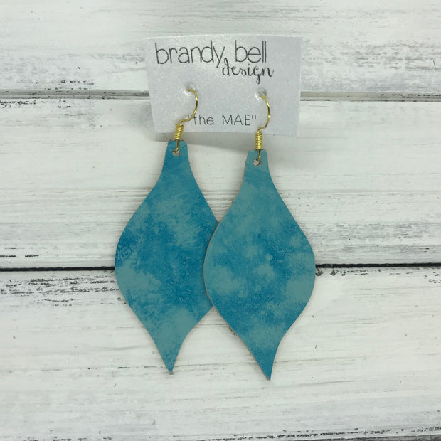 MAE - Leather Earrings  ||  TIE DYE AQUA OCEAN