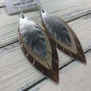 INDIA - Leather Earrings  ||   <BR> METALLIC SILVER  <BR> SHIMMER GOLD <BR> METALLIC ROSE GOLD SMOOTH