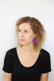 ZOEY (3 sizes available!) -  Leather Earrings  ||   PURPLE RIBBON (FAUX LEATHER)