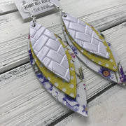 INDIA - Leather Earrings  ||   <BR> WHITE BASKETWEAVE  <BR> YELLOW WITH WHITE POLKADOTS <BR> PURPLE FLORAL ON WHITE