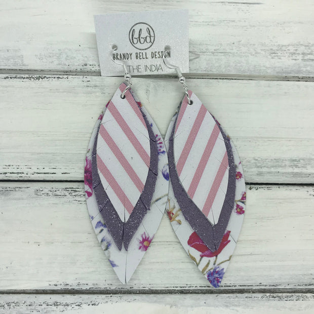 INDIA - Leather Earrings  ||   <BR> WHITE WITH PINK STRIPE  <BR> SHIMMER PURPLE <BR> PURPLE FLORAL ON WHITE