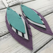 INDIA - Leather Earrings  ||   <BR> ROBINS EGG BLUE  <BR> BLACK & WHITE STRIPE <BR> SHIMMER PURPLE