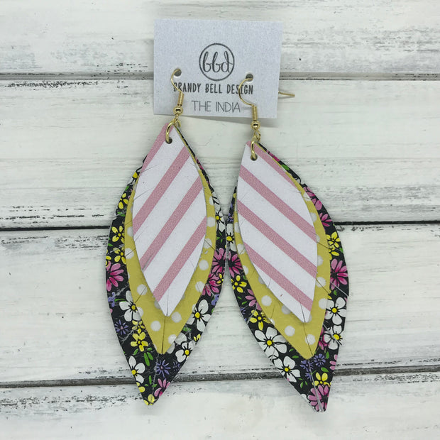 INDIA - Leather Earrings  ||   <BR> WHITE & PINK STRIPE  <BR> YELLOW WITH WHITE POLKADOTS <BR> MINI PURPLE & PINK FLORAL ON BLACK