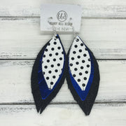 INDIA - Leather Earrings  ||   <BR> WHITE WITH BLACK POLKADOTS  <BR> METALLIC COBLAT BLUE <BR> SHIMMER BLACK