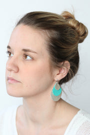 LINDSEY - Leather Earrings  ||  MATTE LIGHT PINK, MATTE CAROLINA BLUE, SHIMMER BLACK