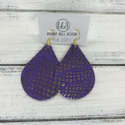 ZOEY (3 sizes available!) -  Leather Earrings  ||  METALLIC GOLD ON PURPLE