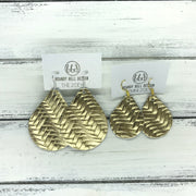 ZOEY (3 sizes available!) -  Leather Earrings  ||  METALLIC GOLD BRAIDED