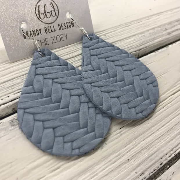 ZOEY (3 sizes available!) -  Leather Earrings  ||   LIGHT BLUE BRAIDED