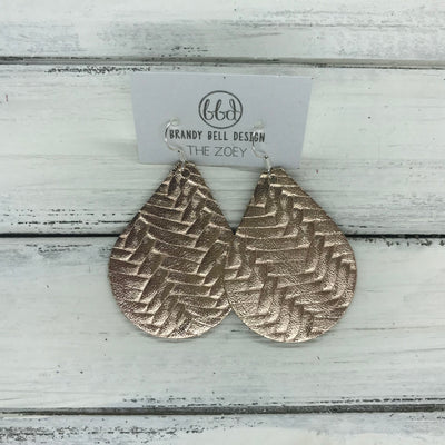 ZOEY (3 sizes available!) -  Leather Earrings  ||   METALLIC ROSE GOLD BRAIDED