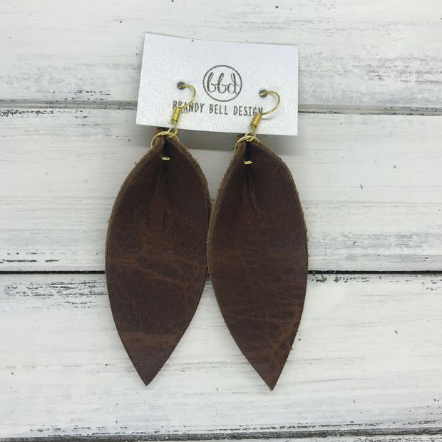 ALLIE -  Leather Earrings  ||  DISTRESSED BROWN (single layer)