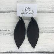 ALLIE -  Leather Earrings  ||  AGED BLACK (single layer)