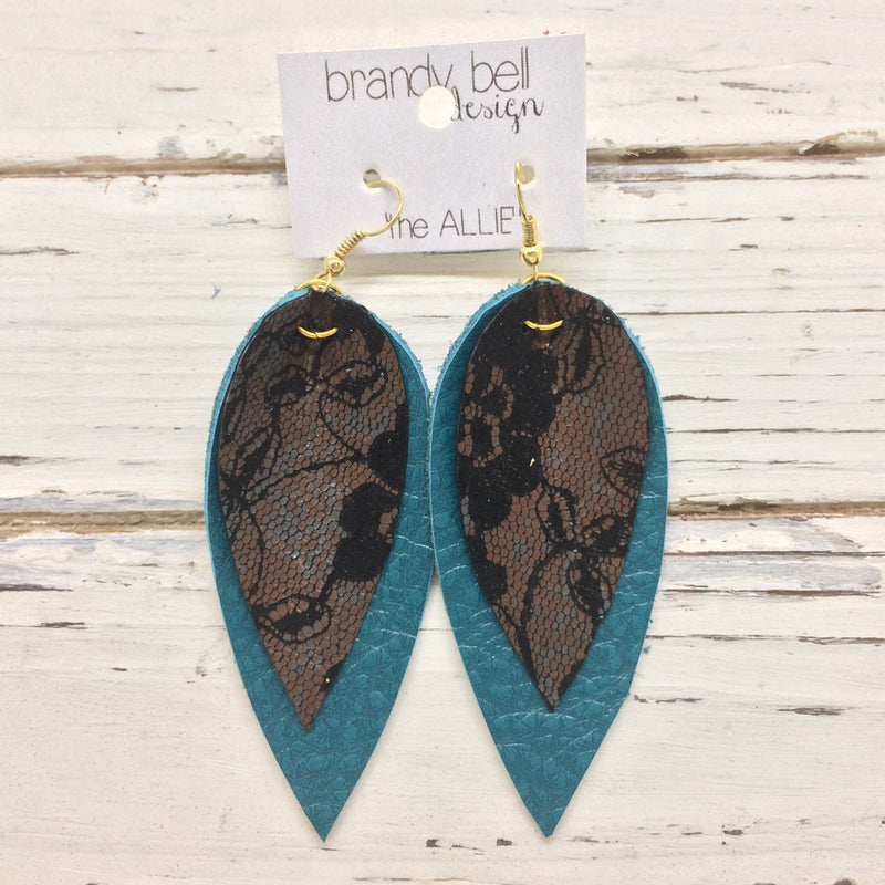 ALLIE - Leather Earrings || Brown & Black lace on dark teal