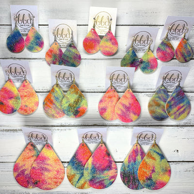 *MYSTERY* ZOEY (3 sizes available!) -  Leather Cork Earrings  ||   <br> You choose the SIZE, we choose the TIE DYE PRINT! <br> TIE DYE GLITTER on CORK (thick material!)