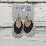 DIANE - Leather Earrings  || Pearlized Pink/Matte Black/Metallic Champagne Cobra