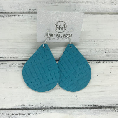ZOEY (3 sizes available!) -  Leather Earrings  ||   TEAL PANAMA WEAVE
