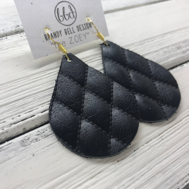 ZOEY (3 sizes available!) - Leather Earrings   ||  BLACK QUILTED