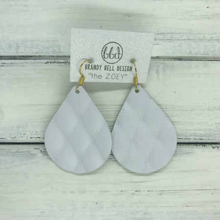 miniZOEY + ZOEY - Leather Earrings   ||  WHITE QUILTED