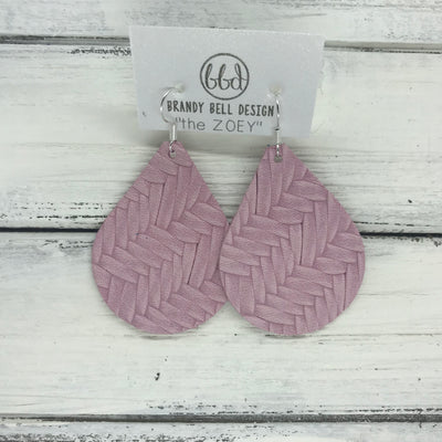 ZOEY (3 sizes available!) -  Leather Earrings  ||  PINK BRAIDED