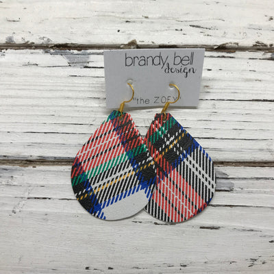 ZOEY -  Leather Earrings  || TARTAN PLAID (pattern placement varies)