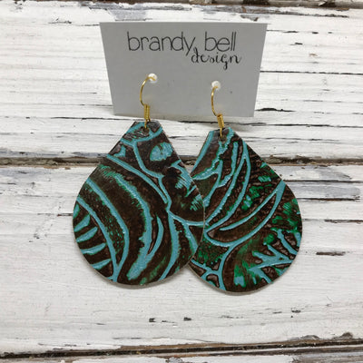 ZOEY (3 sizes available!) -  Leather Earrings  || DARK BROWN & TURQUOISE WESTERN FLORAL