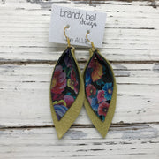 ALLIE -  Leather Earrings  || MULTI COLOR FLORAL ON BLACK, DISTRESSED PEARLIZED OCHRE