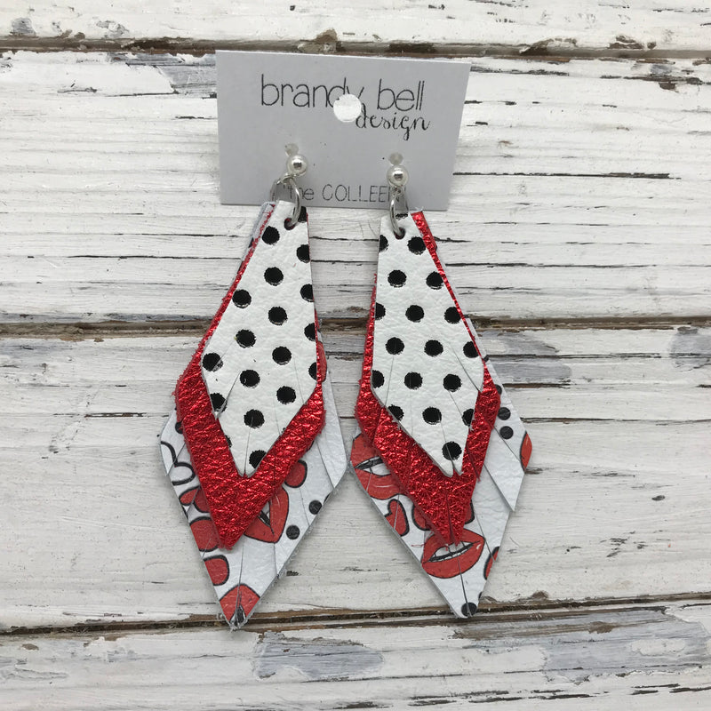 COLLEEN -  Leather Earrings  ||  WHITE WITH BLACK POLKADOTS, METALLIC RED PEBBLED, WHITE WITH LIPS