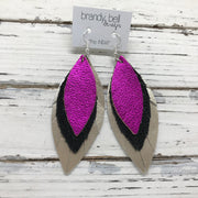 INDIA - Leather Earrings  ||   METALLIC NEON PINK, BLACK WITH GLOSS DOTS, METALLIC CHAMPAGNE