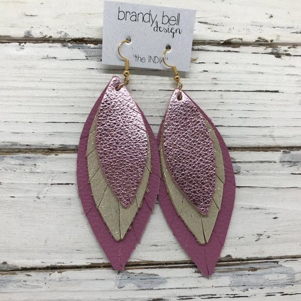 INDIA - Leather Earrings  ||  METALLIC LIGHT PINK, SHIMMER GOLD, MATTE MAUVE