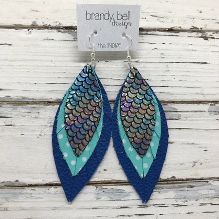 INDIA - Leather Earrings  ||  METALLIC ANTIQUE MERMAID, AQUA WITH WHITE POLKADOTS, MATTE COBALT BLUE