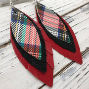 INDIA - Leather Earrings  ||  TARTAN PLAID, SHIMMER BLACK, MATTE CANDY APPLE RED