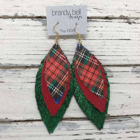 INDIA - Leather Earrings  ||  TARTAN PLAID, MATTE CANDY APPLE RED, SHIMMER METALLIC GREEN