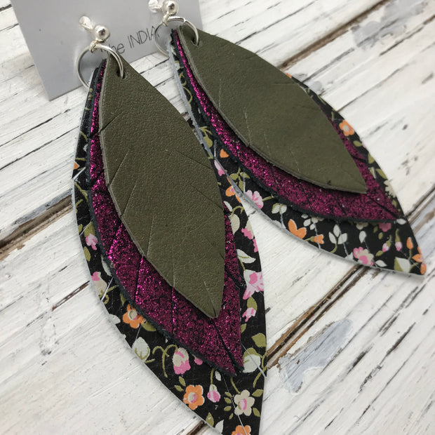 INDIA - Leather Earrings  ||  MATTE OLIVE GREEN, METALLIC SHIMMER MAGENTA, MINI FLORAL ON BLACK