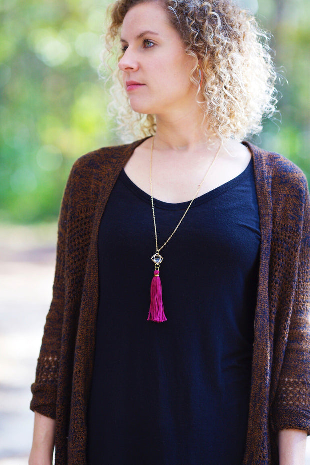 TASSEL NECKLACE - CAROLINA    ||  PRUSSIAN BLUE TASSEL WITH DECORATIVE BEAD