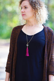 TASSEL NECKLACE - CAROLINA  || BLACK TASSEL WITH SILVER CAGE WITH ENCLOSED GEM