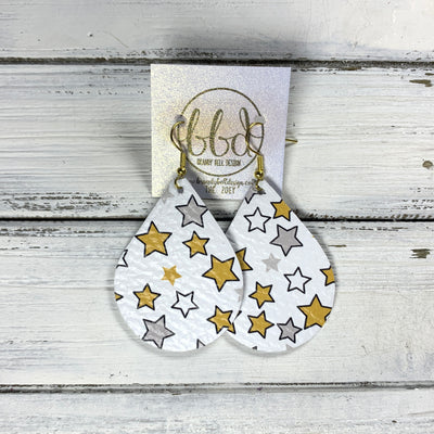 ZOEY (3 sizes available!) -  Leather Earrings  ||   MUSTARD & GRAY STARS ON WHITE