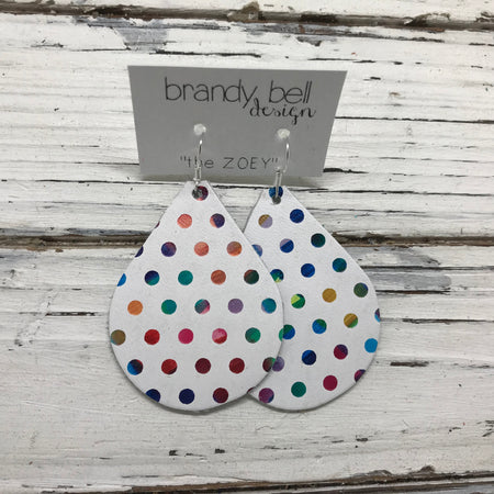 miniZOEY + ZOEY -  Leather Earrings  || MULTI COLOR POLKADOT ON WHITE