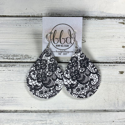 ZOEY (3 sizes available!) -  Leather Earrings  ||   BLACK & WHITE LACE PATTERN