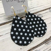 ZOEY (3 sizes available!) -  Leather Earrings  || BLACK WITH WHITE POLKADOTS
