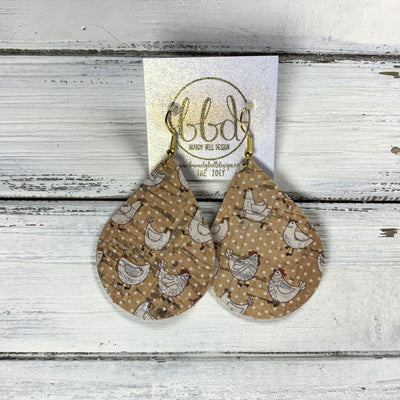 ZOEY (3 sizes available!) -  Leather Earrings  ||  <BR>  WHITE CHICKENS ON CORK POLKADOTS (FAUX LEATHER)