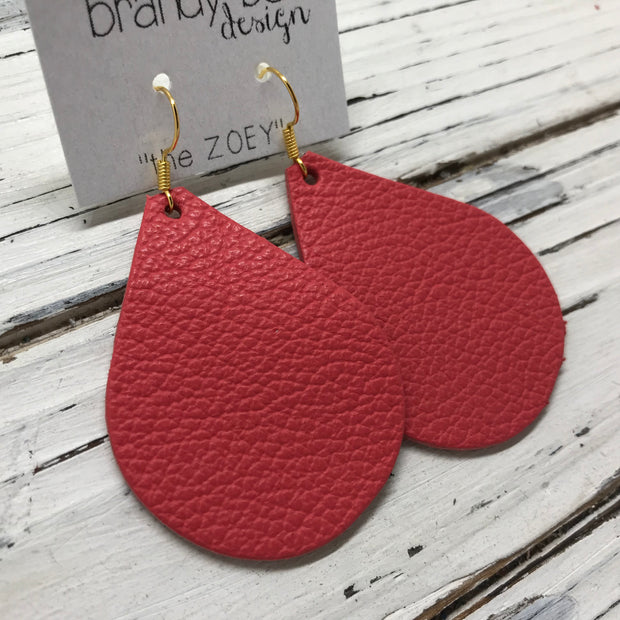 ZOEY (3 sizes available!) -  Leather Earrings  ||  MATTE CORAL/PINK