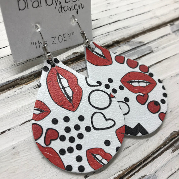 ZOEY (3 sizes available!) -  Leather Earrings  || WHITE WITH RED LIPS (pattern placement varies)