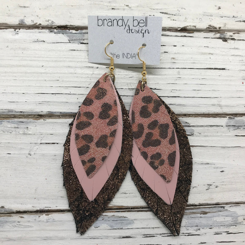 INDIA - Leather Earrings  ||  PINK SHIMMER CHEETAH, MATTE LIGHT PINK, SHIMMER COPPER ON BLACK