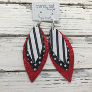 INDIA - Leather Earrings  ||  BLACK & WHITE STRIPE, BLACK WITH WITH POLKADOT, METALLIC RED PEBBLED