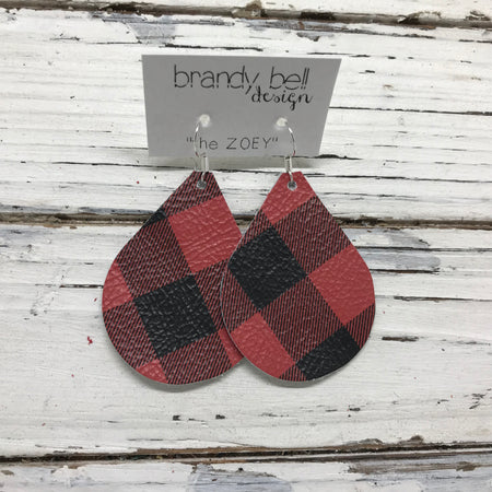 miniZOEY + ZOEY -  Leather Earrings  || RED & BLACK BUFFALO PLAID (pattern placement varies)